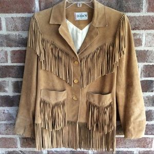 True Vintage Suede Leather Fringe Jacket